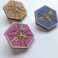 Half Price Sale Hand-Painted Laser-Cut Hexagonal Wooden Bee Brooch