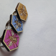 Half Price Sale! Hand-Painted Laser-Cut Hexagonal Wooden Bee Ring