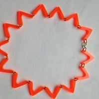Orange Flat ZigZag  Necklace – Fluorescent Laser Cut Perspex
