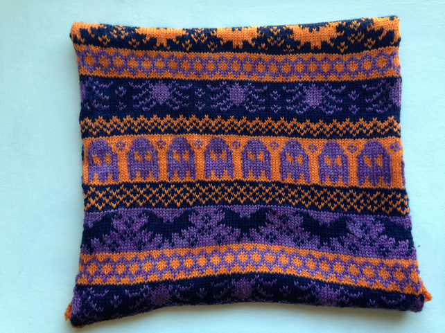 Fairisle Knitted Halloween Snood - Purple, Orange and Navy