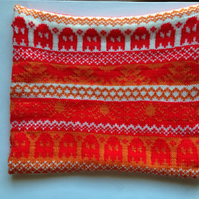 Fairisle Knitted Halloween Snood - Red, Orange and Cream