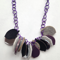 Chunky Petal Necklace –Mixed media felt, lambswool, leather, acrylic – Laser Cut