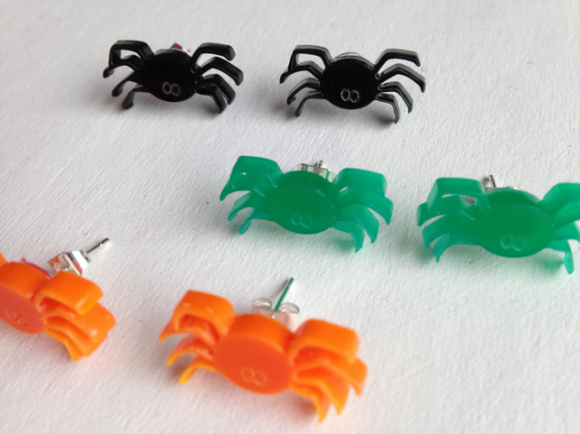 Laser Cut Halloween Spider Stud Earrings