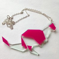 Laser Cut Origami Kangaroo Necklace - Sample Sale One Off