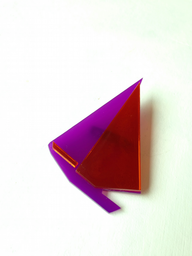 Laser Cut Origami Sailboat Brooch - Sample Sale One Off