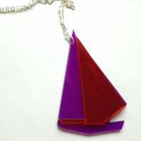 Laser Cut Origami Sailboat Necklace - Sample Sale One Off