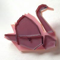Laser Cut Origami Swan Brooch - Sample Sale One Off