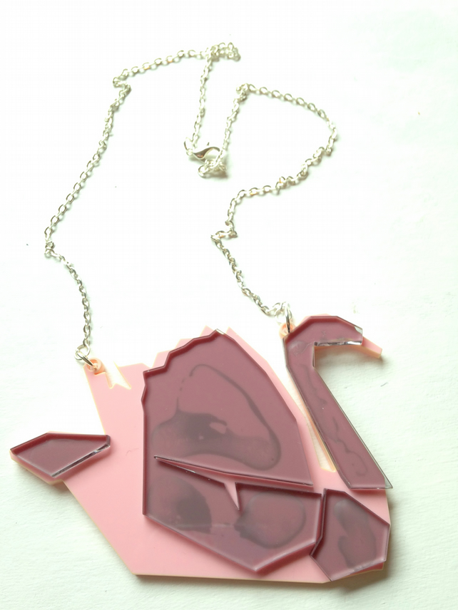 Laser Cut Origami Swan Necklace - One off sample sale