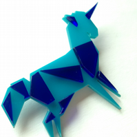Laser Cut Origami Unicorn Brooch - Sample Sale One Off