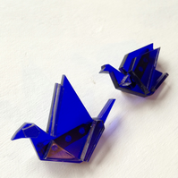 Pair of Laser Cut Origami Crane Brooches - sample sale one-off