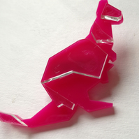 Laser Cut Origami Kangaroo Brooch - Sample Sale One Off