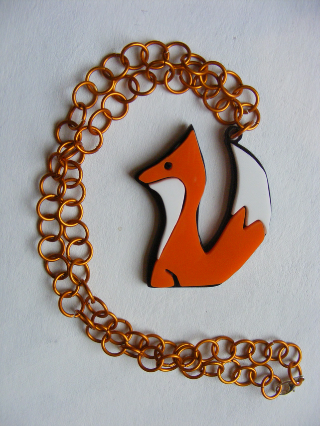 Fox Necklace – Laser Cut Acrylic and Anosided Aluminium