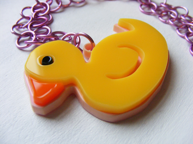 Duck Necklace – Laser-cut Acrylic and Anodised Aluminium