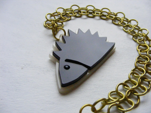 Hedgehog Necklace – Laser Cut Acrylic and Anodised Aluminium