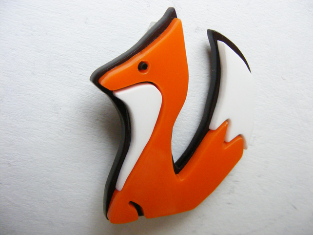 Fox Brooch - Laser Cut Perspex