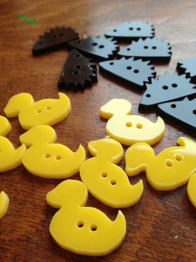 Rubber Duck Buttons - set of 6 laser-cut Acrylic