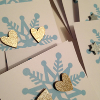 Glittery Christmas Stud Earrings - Gold Hearts