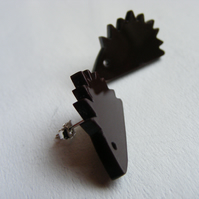 Laser-cut Hedgehog Earrings - Brown