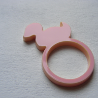 Pink Rubber Duck Laser-Cut Ring