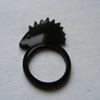 Brown or Ivory Hedgehog Laser-Cut Ring