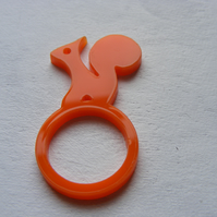 Orange Squirrell Ring - Laser-Cut Perspex