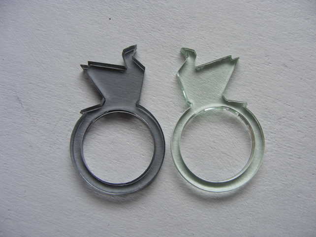 Pair of Transparent Crane Rings - Laser-cut Acrylic