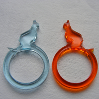 Pair of Kangaroo Rings - laser-cut perspex