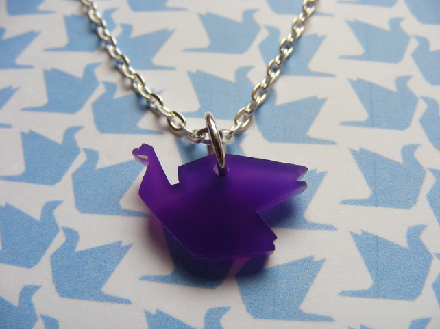 Origami Bird Pendant - Purple - Laser Cut
