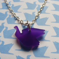 Origami Bird Pendant -  Laser Cut - purple or blue