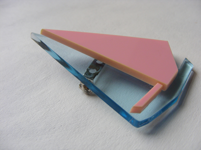 Origami Sailboat Brooch - Pink and Blue Laser-Cut