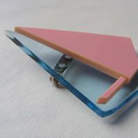 Origami Sailboat Brooch -  Laser-Cut - Pink and Blue or Purple and Orange