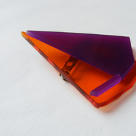Origami Sailboat Brooch - Purple and Orange  Laser-Cut