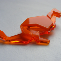 Origami Kangaroo Brooch - Orange  Laser-Cut