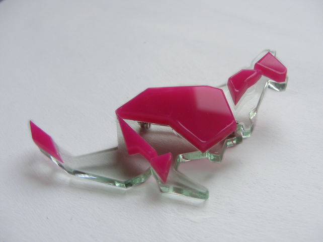 Origami Kangaroo Brooch - Pink and Glass  Laser-Cut