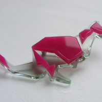 Origami Kangaroo Brooch - Pink and Glass or Orange  Laser-Cut