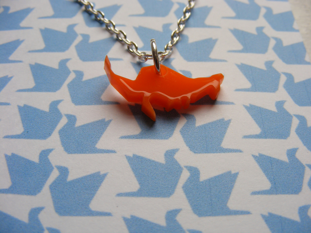 Origami Kangaroo Pendant - Orange - Laser Cut