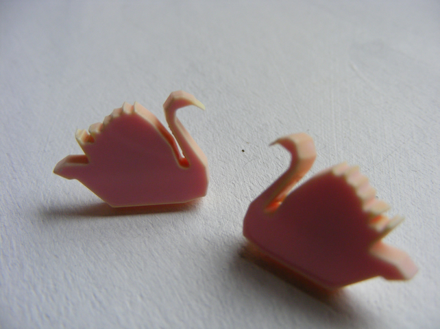 Origami Swan Earrings - Laser Cut - Pale Pink