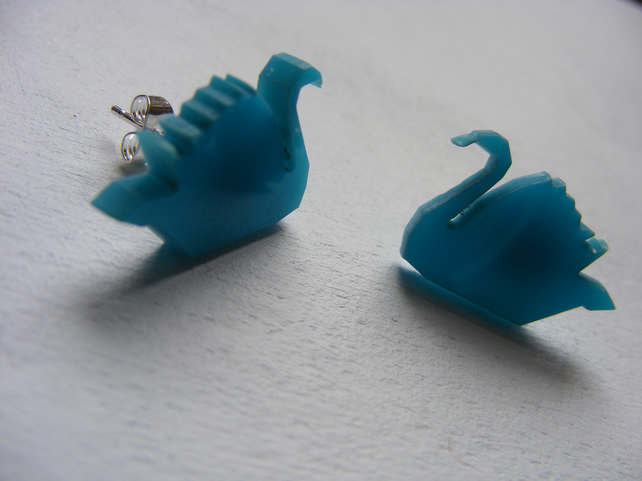 Origami Swan Earrings - Laser Cut - Turquoise