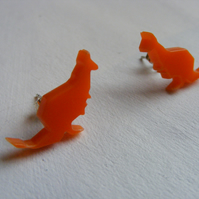 Origami Kangaroo Earrings - Orange - Laser Cut