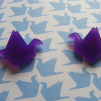 Origami Crane Earrings - Purple - Laser Cut
