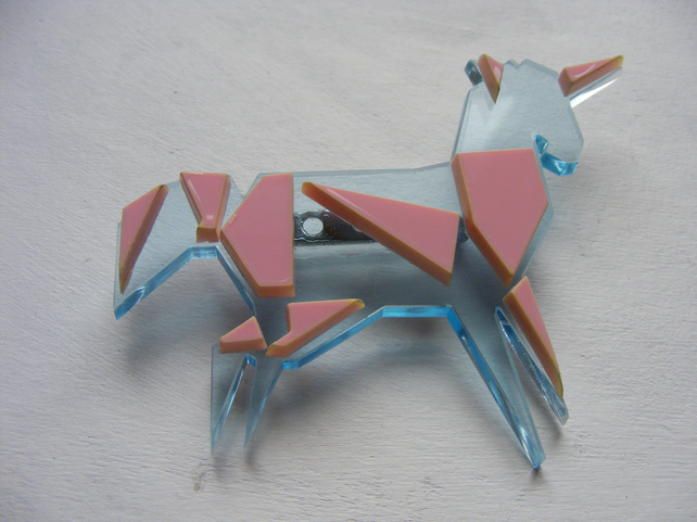 Origami Unicorn Brooch - Pink and clear blue - Laser-Cut