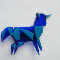 Origami Unicorn Brooch -  blue and Turquoise - Laser-Cut