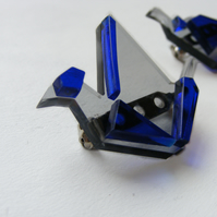 Origami Pair of Crane Brooches - Laser Cut - Blue and Grey or Purple and Glass