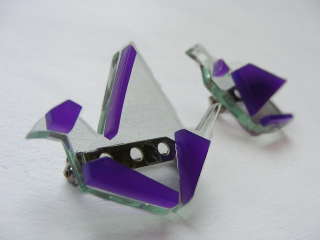 Origami Pair of Crane Brooches - Laser Cut - Purple and Glass