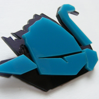 Origami Swan Brooch - Laser Cut - Turquoise and grey