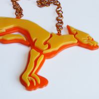 Celtic Dog Statement Necklace - Laser-Cut Perspex - Yellow