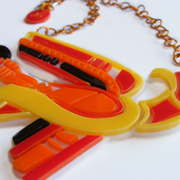 Celtic Bird Statement Necklace - Laser-Cut Perspex - Reds