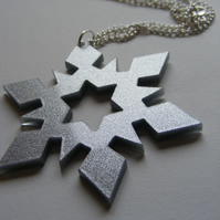 Glittery Christmas Snowflake Pendant Necklace - Laser-cut