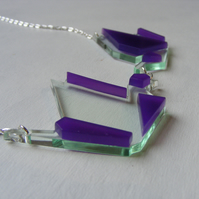 Origami Pair of Cranes Necklace - Laser Cut - Purple and Glass or Grey and Blue