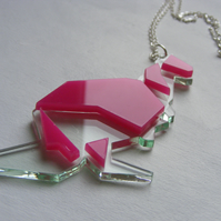 Origami Kangaroo Necklace - Laser Cut - Pink and Glass or Orange